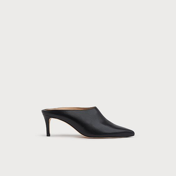 Hettie Black Leather Mules