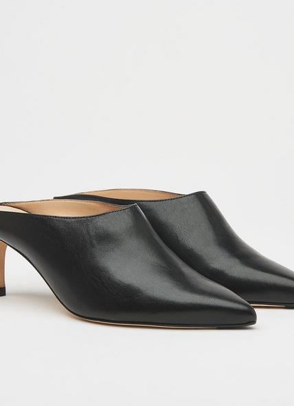 Hettie Black Leather Mules