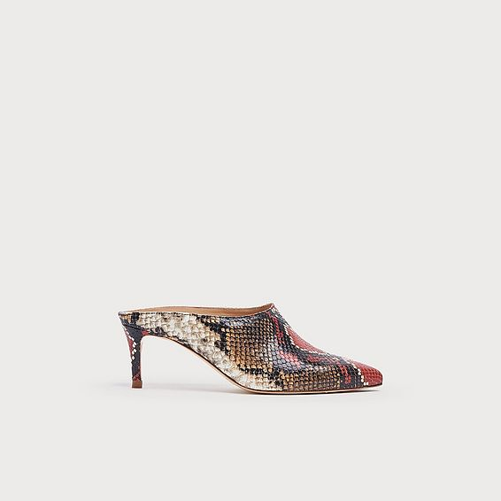 Hettie Red Snake Effect Mules