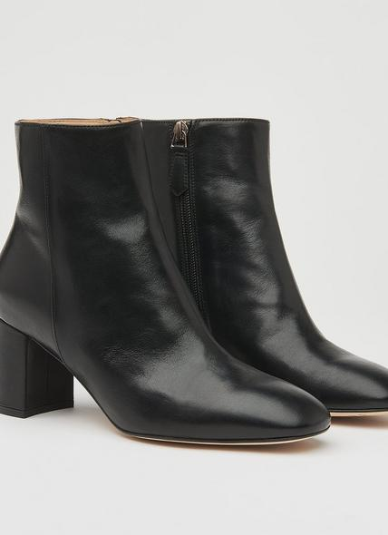 Jette Black Leather Ankle Boots
