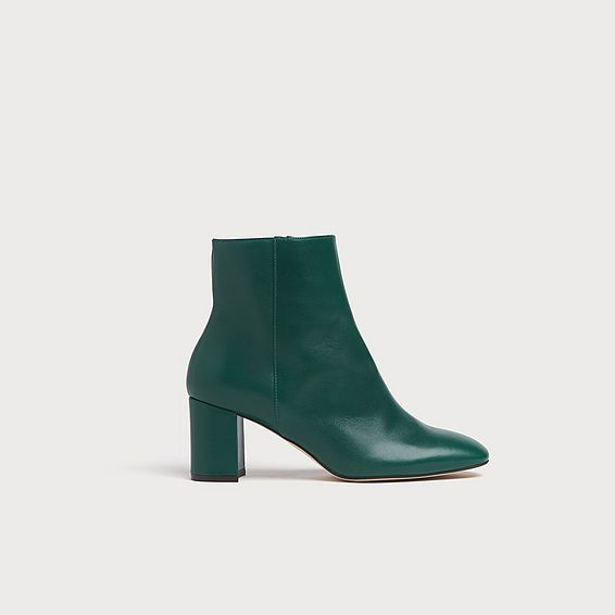 Jette Green Leather Ankle Boots