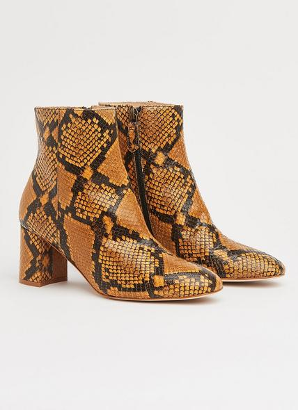 Jette Yellow Snake Print Ankle Boots