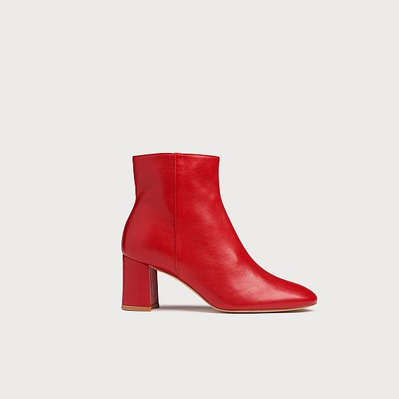 Jette Red Leather Ankle Boots