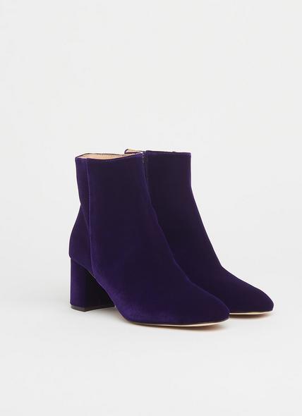 Jette Purple Velvet Ankle Boots