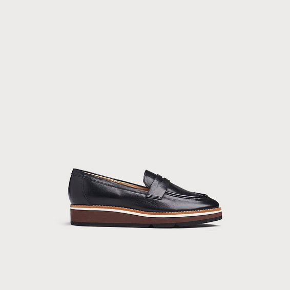 Shana Black Leather Loafers