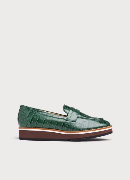 Shana Green Croc Effect Flats