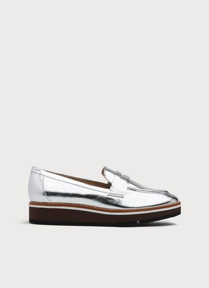 Shana Silver Leather Loafers