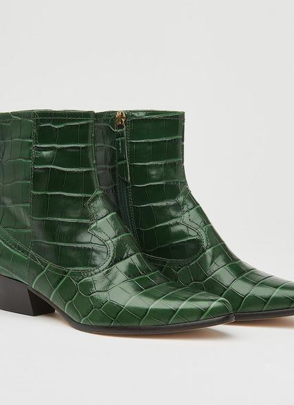 Choral Green Croc-Effect Leather Cowboy Boots