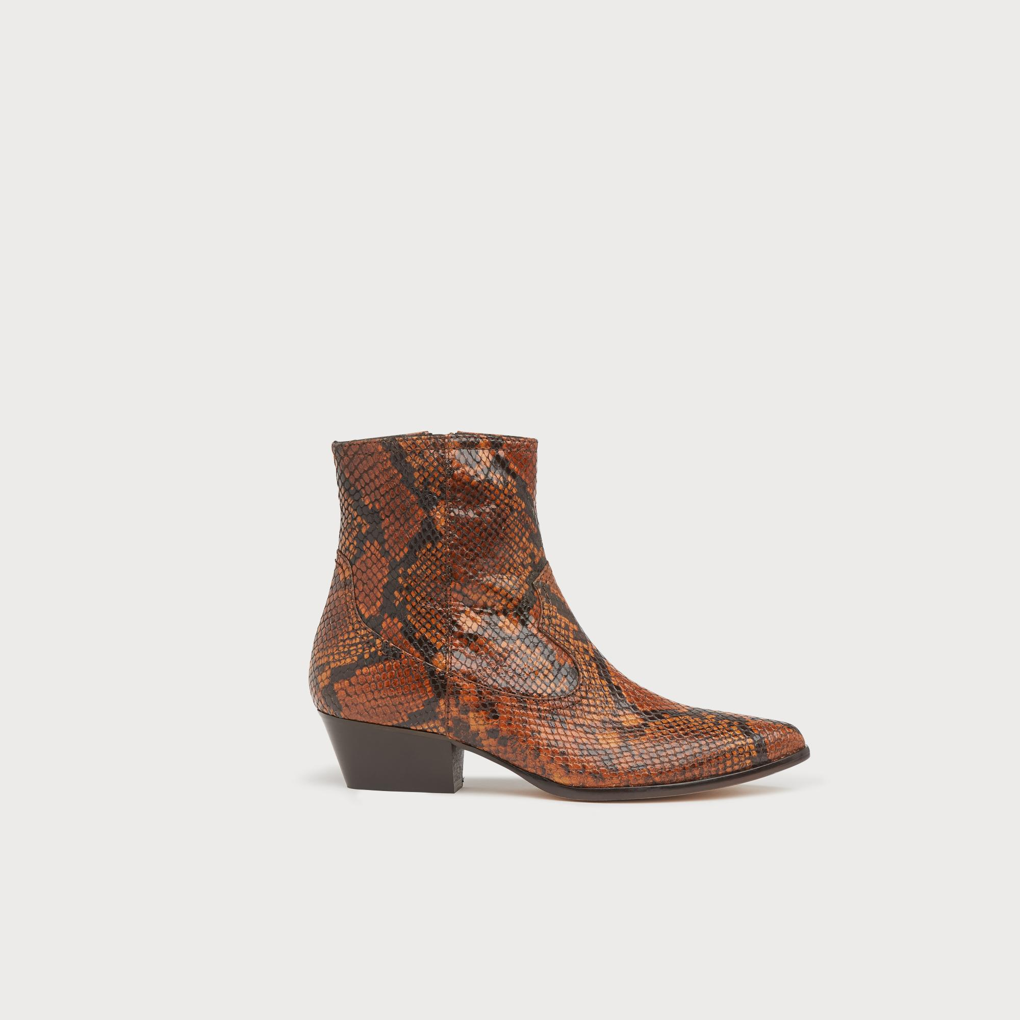 82660ca3b3 Choral Snake Print Leather Cowboy Boots