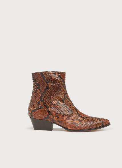 Choral Honey Snake Print Leather Cowboy Boots
