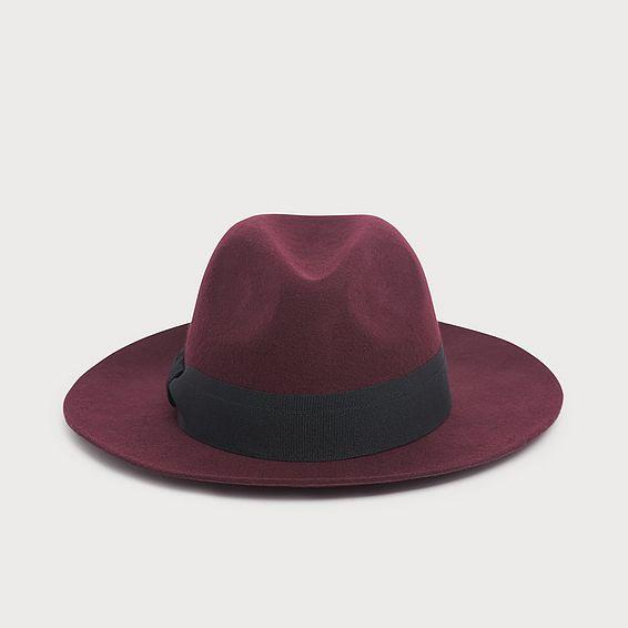 Michela Burgundy Wool Fedora Hat