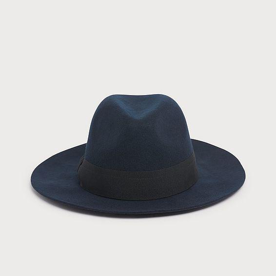 Michela Navy Wool Fedora Hat