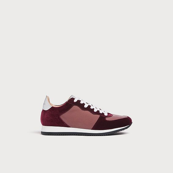 Ricky Blush Burgundy Velvet Trainers