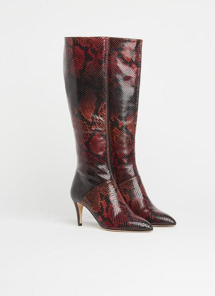 Gini Merlot Snake Print Knee Boots