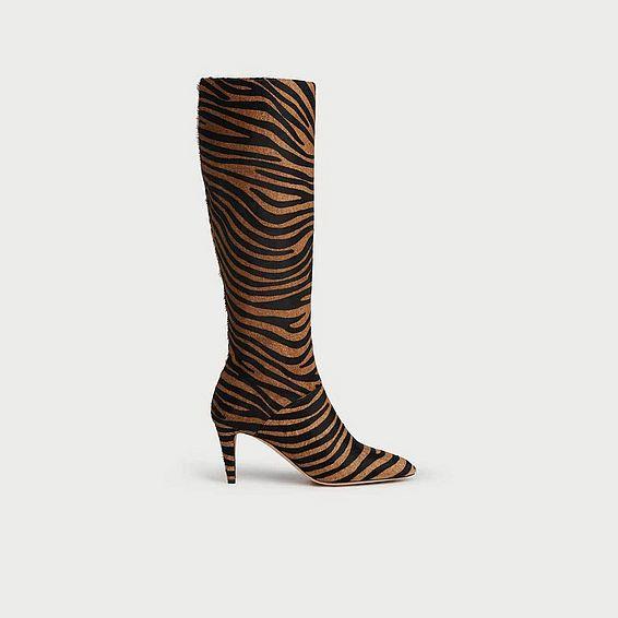 Gini Zebra Print Calf Hair Knee Boots