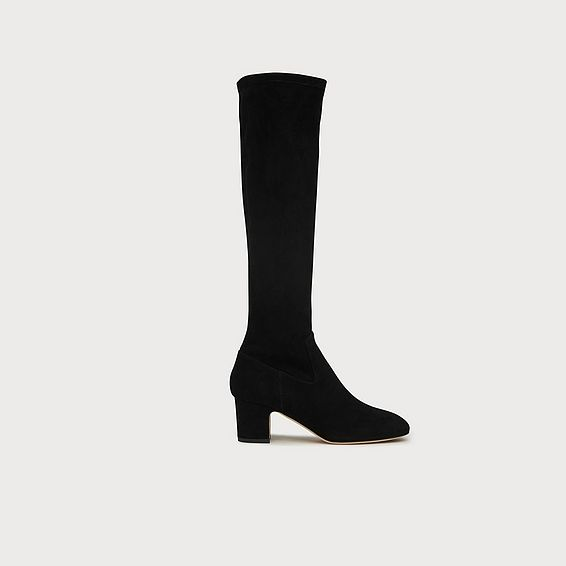 Kiran Black Suede Knee Boots