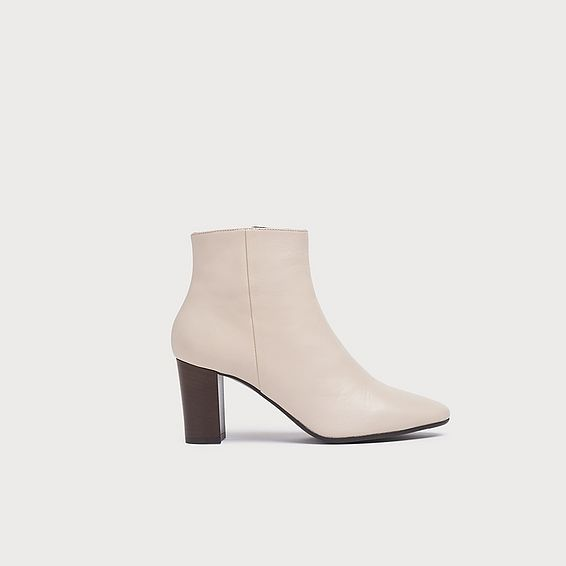 Sira White Leather Ankle Boots