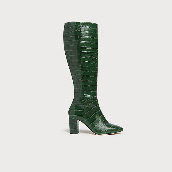 Sirena Green Croc Effect Knee Boots