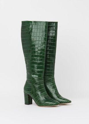 Sirena Green Croc Effect Knee Boots