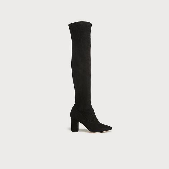 Zira Black Suede Knee Boots