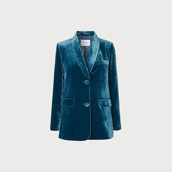 Gwendolen Teal Velvet Jacket