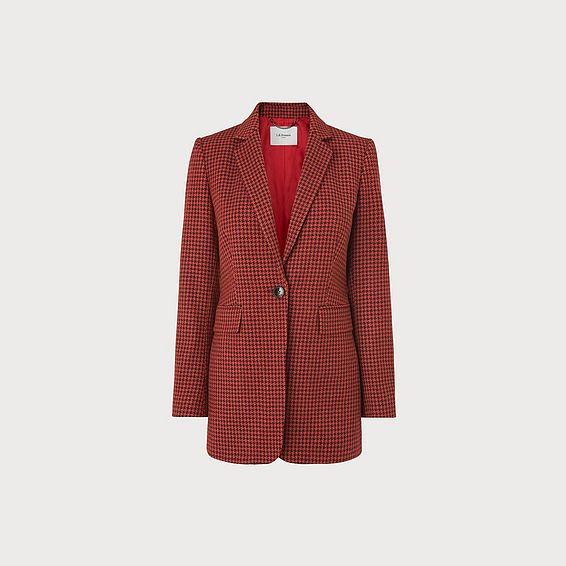 Ingrid Houndstooth Wool-Blend Jacket