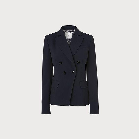 Pearl Navy Crepe Jacket