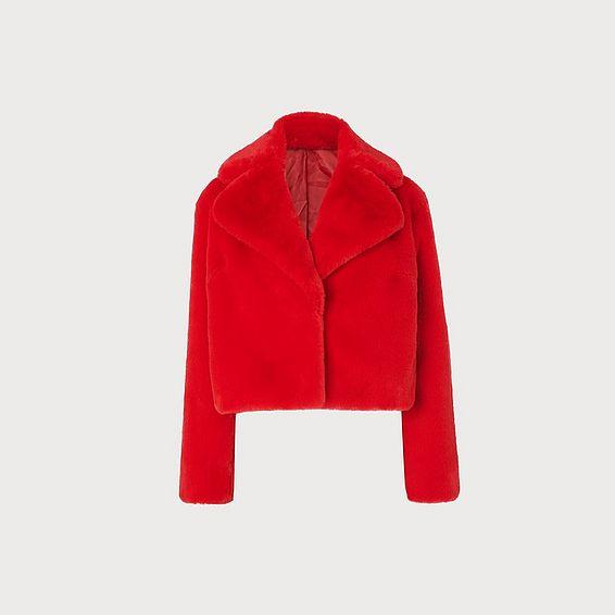 Ruby Red Faux Fur Short Coat