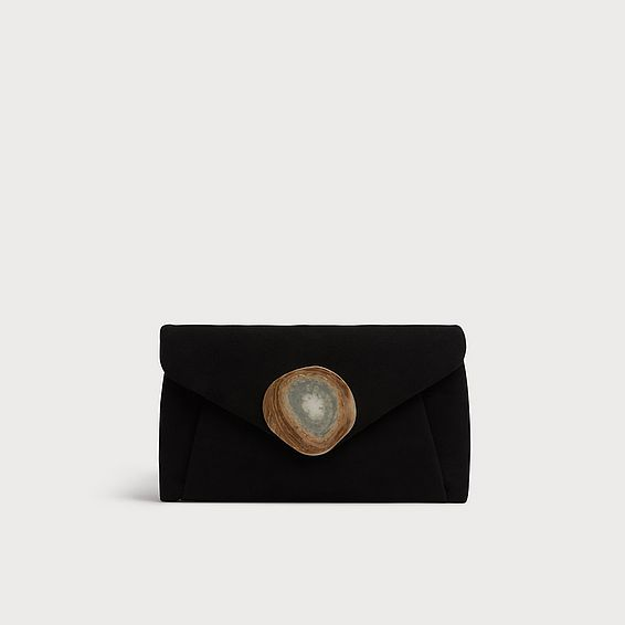 Olivia Black Suede Clutch