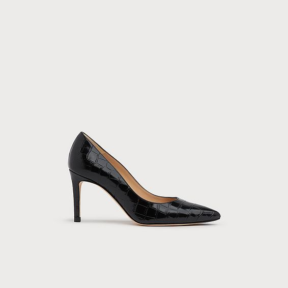 Floret Black Croc Effect Pointed Toe Courts