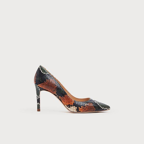 Floret Orange Snake Print Pointed Toe Courts