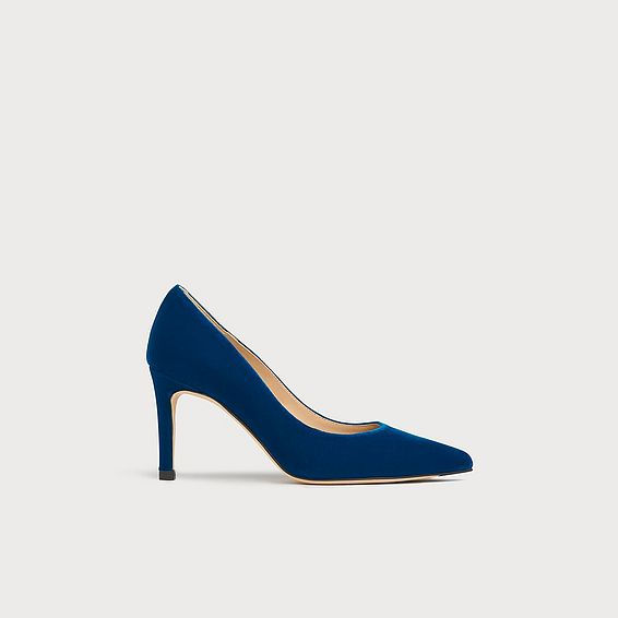 Floret Peacock Velvet Pointed Toe Courts