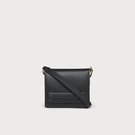 Emma Black Leather Shoulder Bag