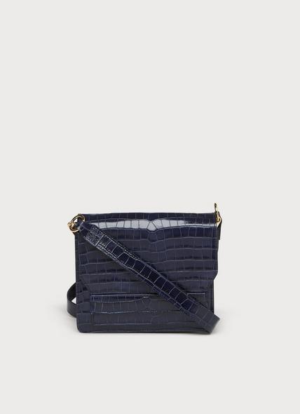 Emma Navy Croc Effect Shoulder Bag