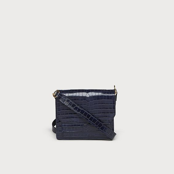 Emma Navy Croc Effect Shoulder Bag