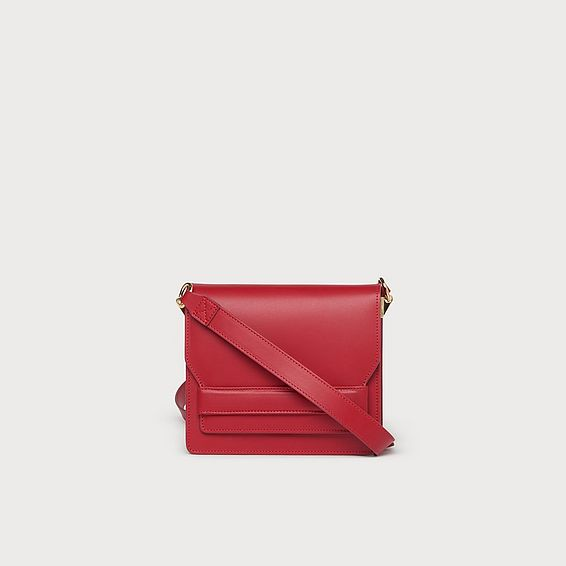 Emma Red Leather Shoulder Bag