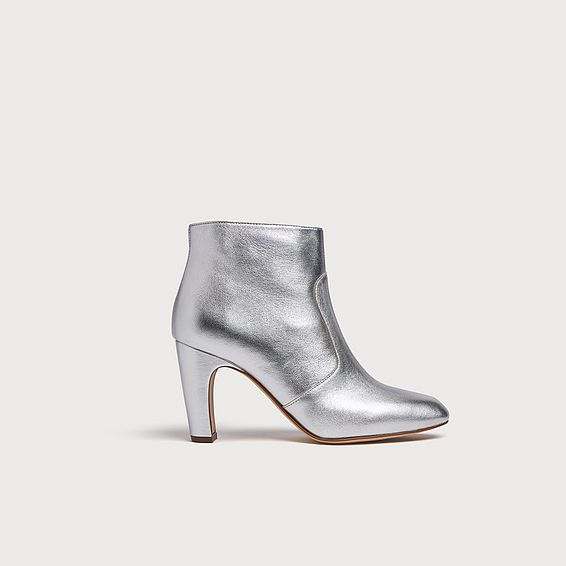 Antonia Silver Metallic Leather Ankle Boots