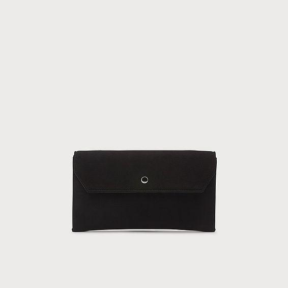 Dora Black Suede Envelope Clutch