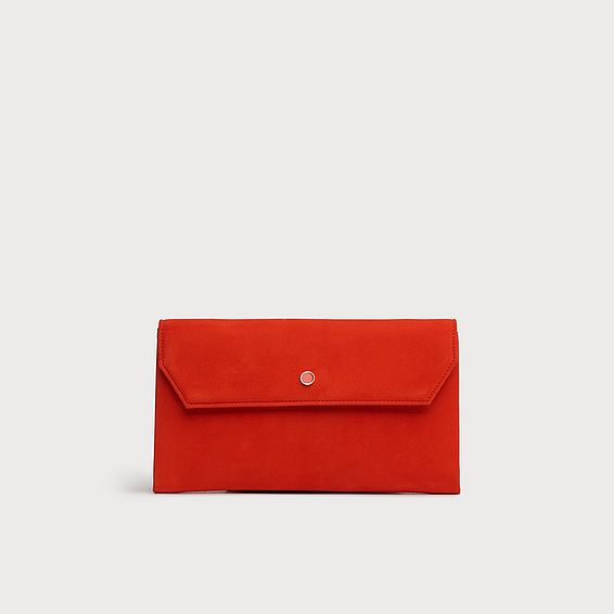 Dora Orange Suede Envelope Clutch