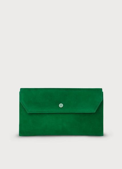 Dora Green Suede Envelope Clutch