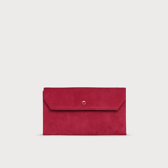 Dora Pink Suede Envelope Clutch