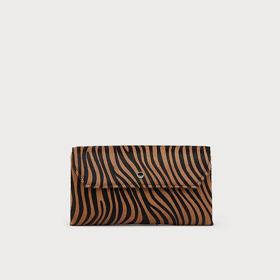 Dora Zebra Print Calf Hair Clutch