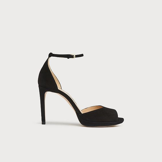 Joyce Black Suede Sandals