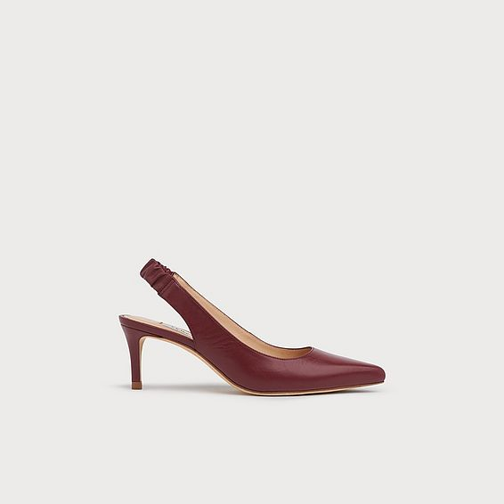 Irena Burgundy Leather Elasticated Slingbacks