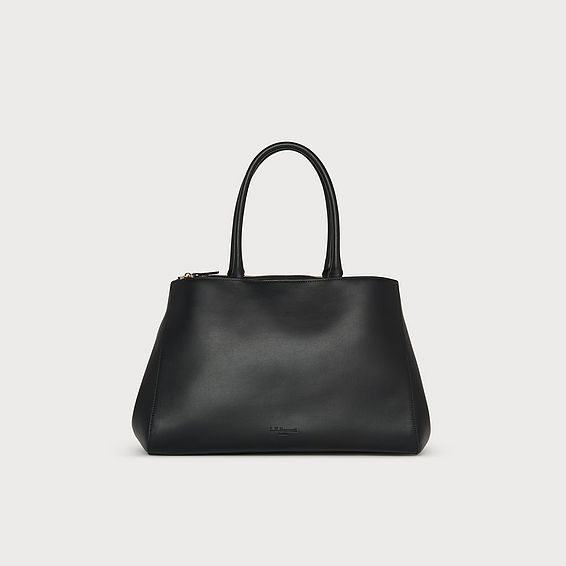 Brittany Black Leather Tote Bag