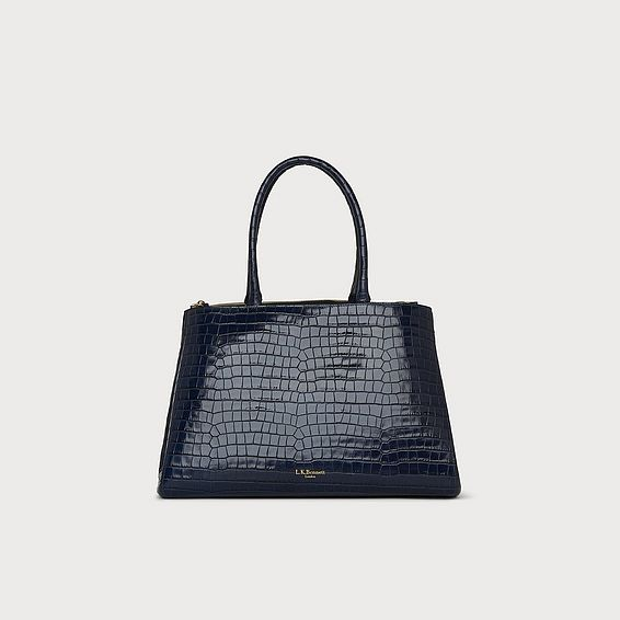 Brittany Navy Croc Effect Tote Bag