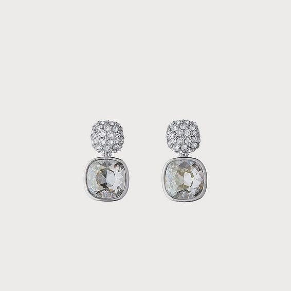 Swarovski Erin Silver Crystal Cushion Drop Parva Earrings