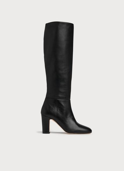 Kristen Black Leather Knee Boots