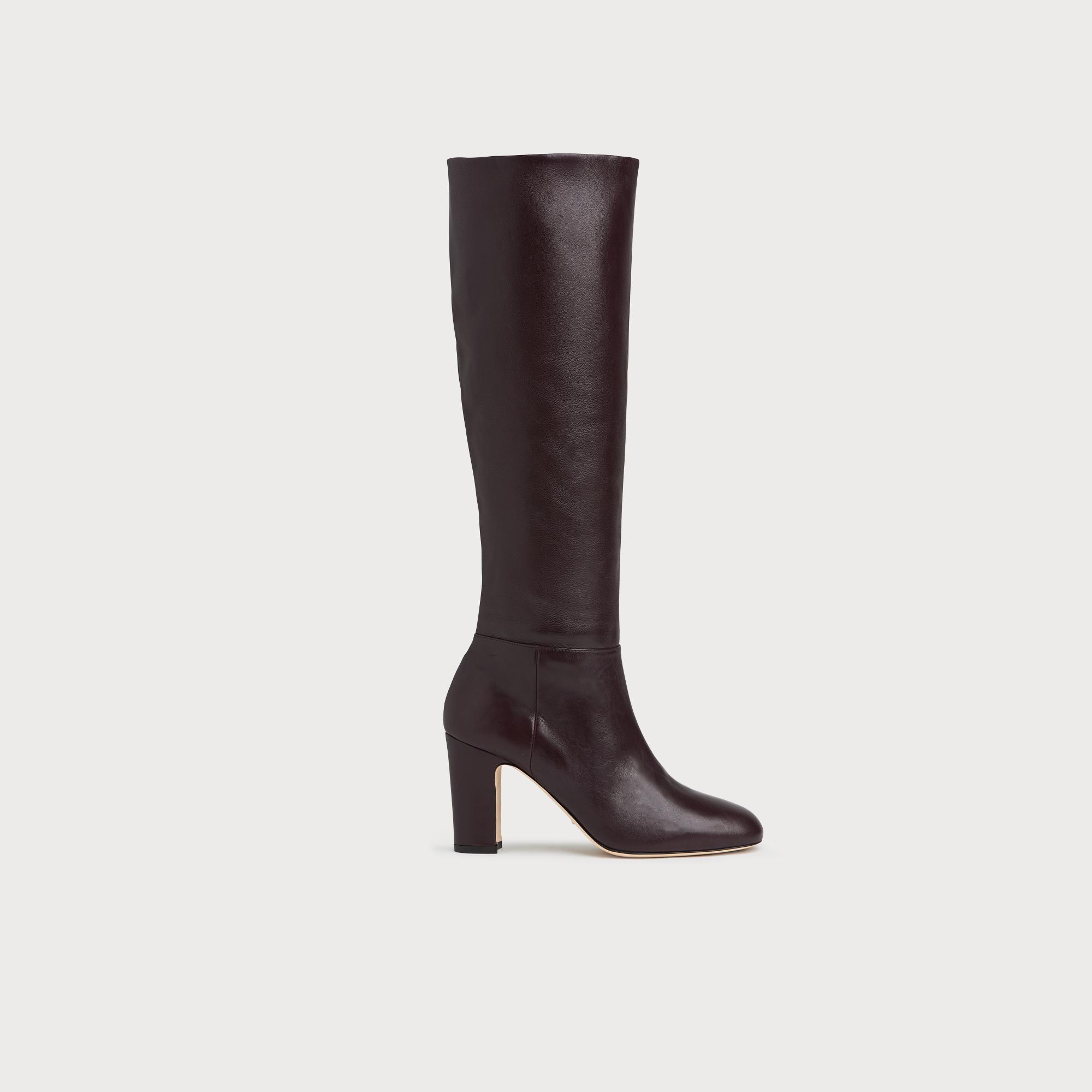 15c74b023780f Kristen Bordeaux Leather Knee Boots