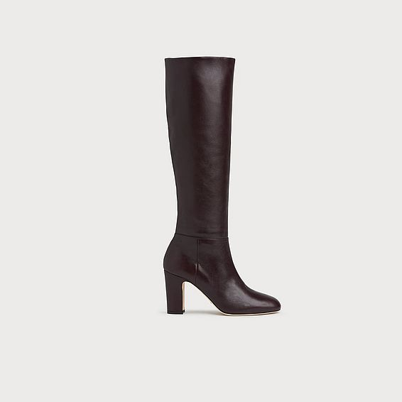 Kristen Bordeaux Leather Knee Boots